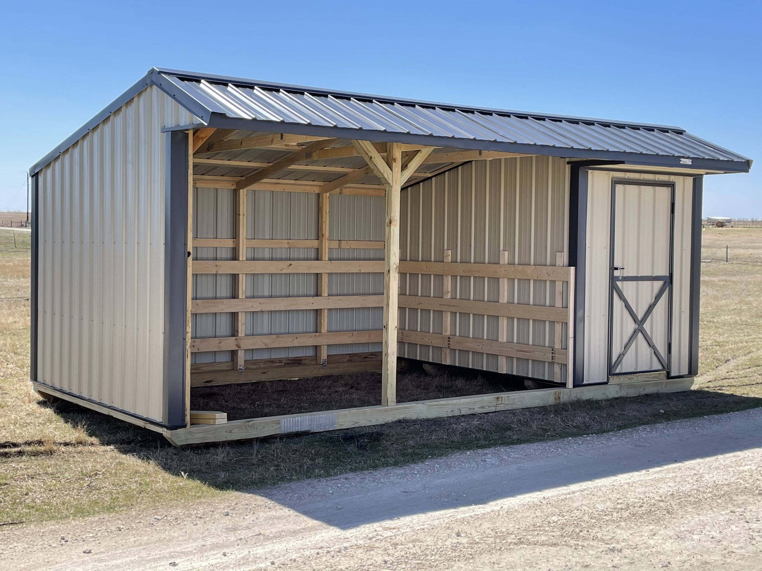 10x20 Metal Run-in Shed w/Tack Room #1872 Image